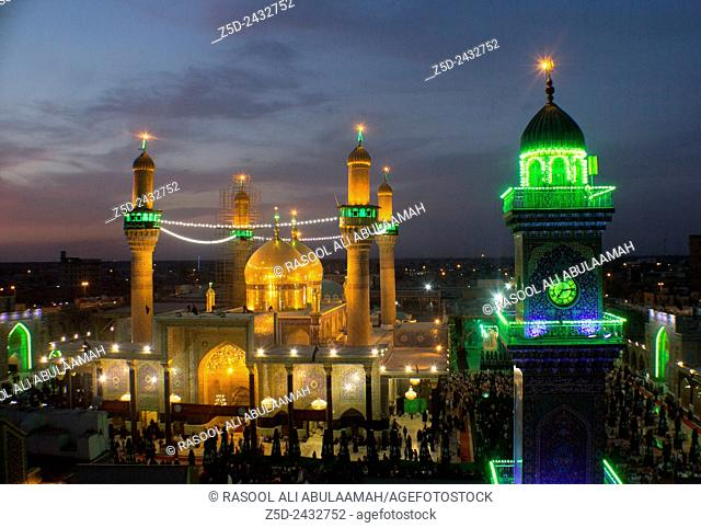 A picture of a Shi'ite shrine Musa al-Kadhim and his grandson Mohammed Jawad, It is a shrine of two gold domes and four minarets and a large courtyard