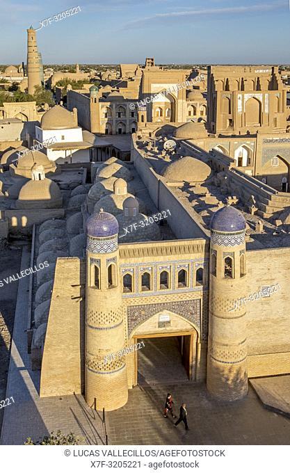 Skyline and East gate or Polvon Davorza of Ichon-Qala or old city, Khiva, Uzbekistan