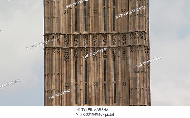Upward tilt of Big Ben