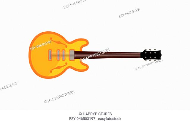 Electric guitar, rock music instrument vector Illustration isolated on a white background
