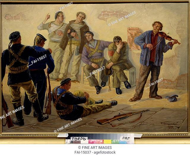 Music. Bogorodsky, Fyodor Semyonovich (1895-1959). Oil on canvas. Soviet Art. 1934. Regional Art Gallery, Tver. 70x100. Painting