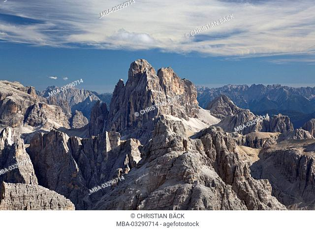 View at the Zwölferkofel of the Schusterplatte, Sexten Dolomites, South Tirol, Northern Italy, Italy