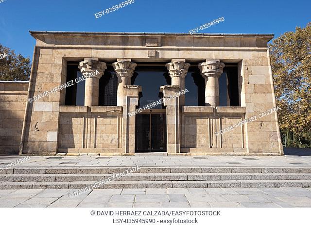Famous Landmark Debod, egyptian temple in Madrid, Spain