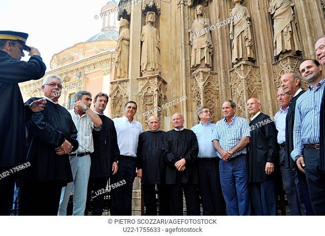 Valencia, Spain: the judges of the Tribunal de las Aguas, at Thursday's ceremony in Plaza de la Virgen