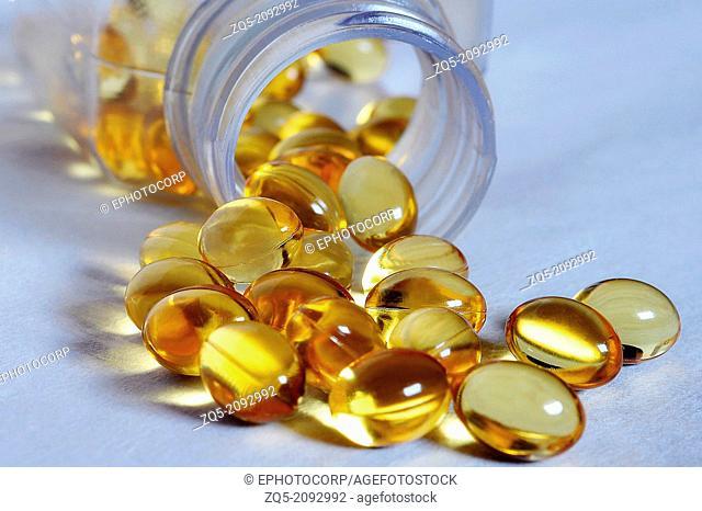 close up of cod liver oil pills, India