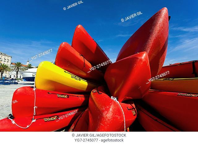 Canoe in the port of Split, Diocletian Palace, Split, Dalmatia, Croatia