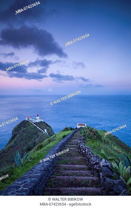 Portugal, Azores, Santa Maria Island, Ponta do Castelo, Ponta do Castelo Lighthouse, evening