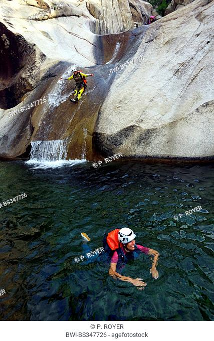 Canyoning in Purcaraccia canyon in Bavella mountains, France, Corsica