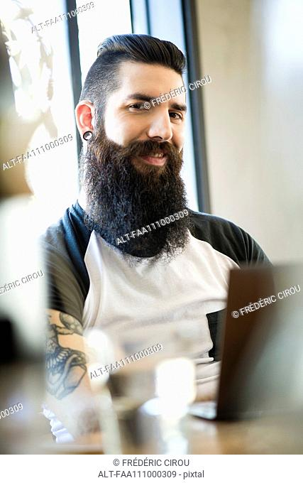 Man with hipster beard, portrait