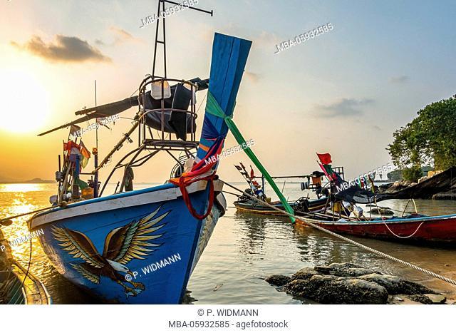 Longtail boats on the beach, sunrise in the Bo Phut Beach, island Ko Samui, Thailand, Asia