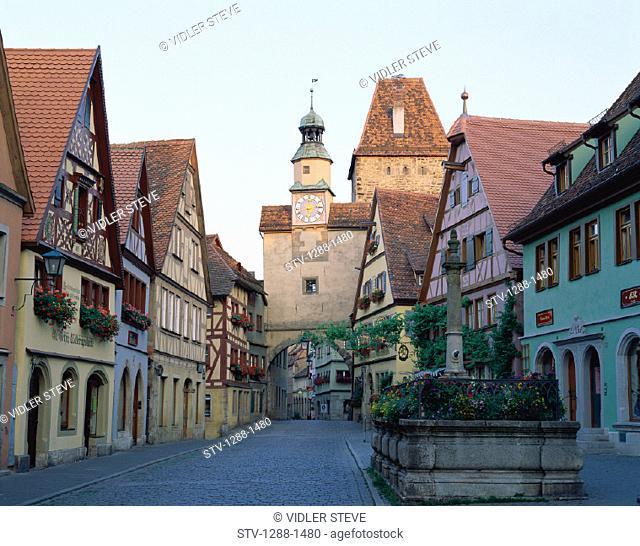 Bavaria, City, Clock, Cobblestone, Germany, Europe, Holiday, Houses, Landmark, Medieval, Quaint, Road, Romantic, Rothenburg, Sho