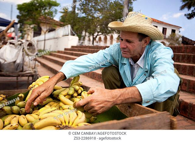 Vendor selling bananas in town center, Vinales, Pinar Del R'o Province, Cuba, West Indies, Central America