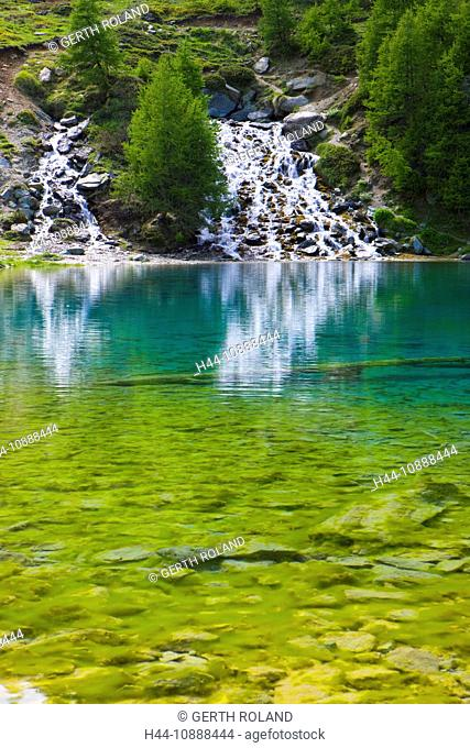 Lac blue, Switzerland, Europe, canton Valais, nature reserve Val d'Hérens, lake, color, brook, spring, source, trees, larches