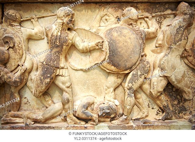 Treasury of Siphnos East Frieze representing scenes from the Trojan War. 525 b. C. Delphi Archaeological Museum