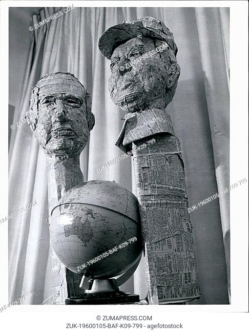 1968 - Boosting Labour In Paper: Over here on a flasting viisit Paris, Charles Tullio of New York famous for his sculpture fashioned out of newspapers