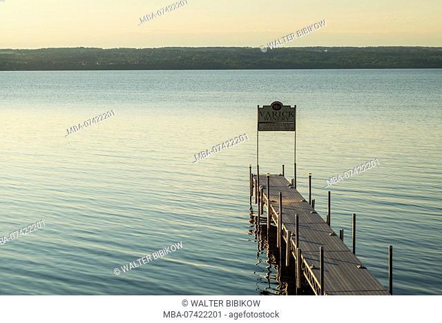 USA, New York, Finger Lakes Region, Romulus, pier on Cayuga Lake