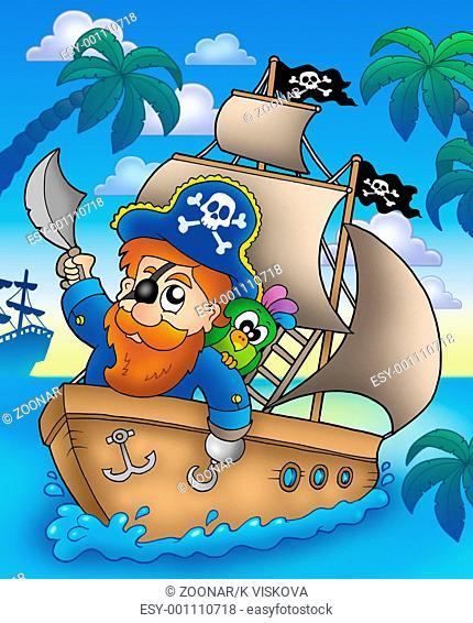 Cartoon pirate sailing on ship - color illustration