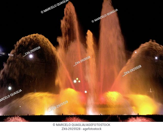 Montjuic's Fountains Light and Sound Show. Barcelona City, Catalonia, Spain