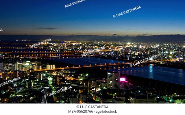 Overview of Osaka at Night, Osaka, Japan