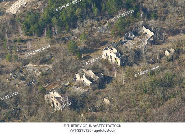 France, Meuse (55), Verdun, WWI battle fields, ruins old barracks Caserne Marceau (aerial view)