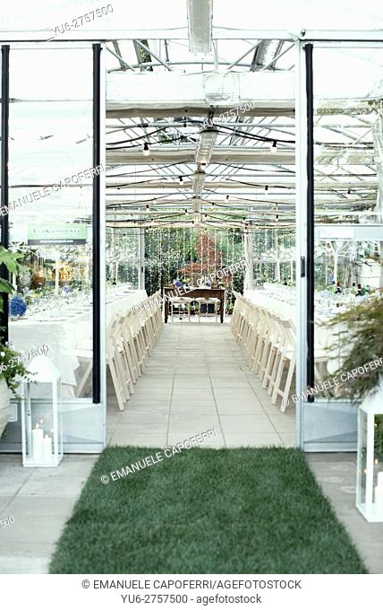 Garden center decorated for wedding party