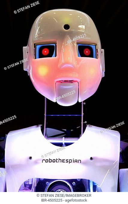 Humanoid robot RoboThespian, ashamed with red Face, Employment Issues exhibition Arbeitswelt Ausstellung DASA, Dortmund, Ruhr district, North Rhine-Westphalia