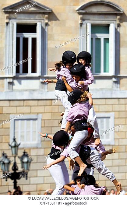 Minyons de Terrassa Human tower falling, Castellers is a Catalan tradition Festa de la Merçe, city festival  Plaça de Sant Jaume Barcelona, Spain