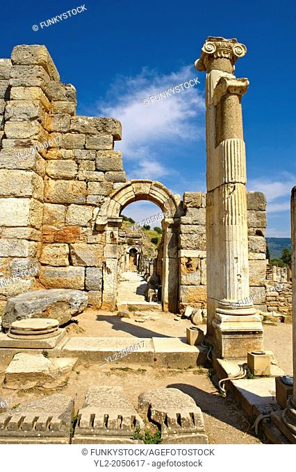 Entrance to the Odeion (Small Thaetre) that was built as a council chamber in 2nd century A.D. Ephesus Archaeological Site, Anatolia, Turkey