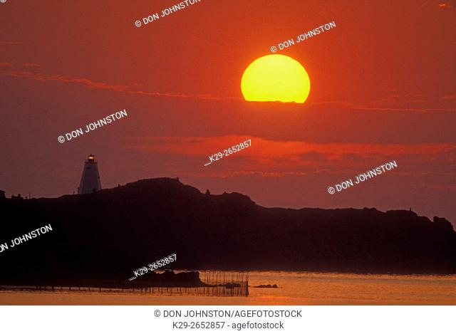 Swallowtail lighthouse at sunrise, Grand Manan Is. , North Head, NB, Canada