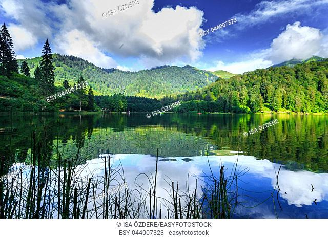 Vew of Karagol (Black lake) a popular destination for tourists,locals,campers and travelers in Eastern Black Sea,Savsat, Artvin, Turkey