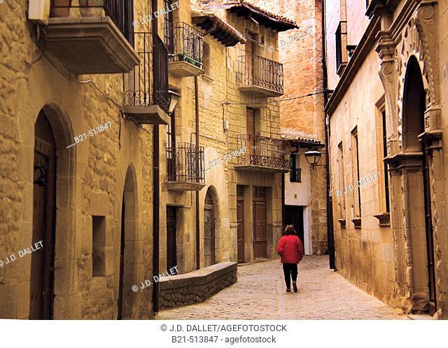 Medieval street at Sos del Rey Catolico. Cinco Villas, Zaragoza province, Aragón, Spain