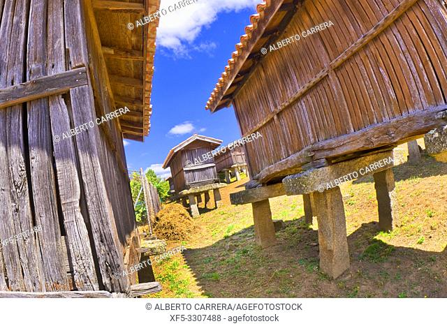 A Merca Hórreos Set, Canastros of A Merca, Traditional Larder, A Merca, Terra de Celanova, Orense, Galicia, Spain, Europe