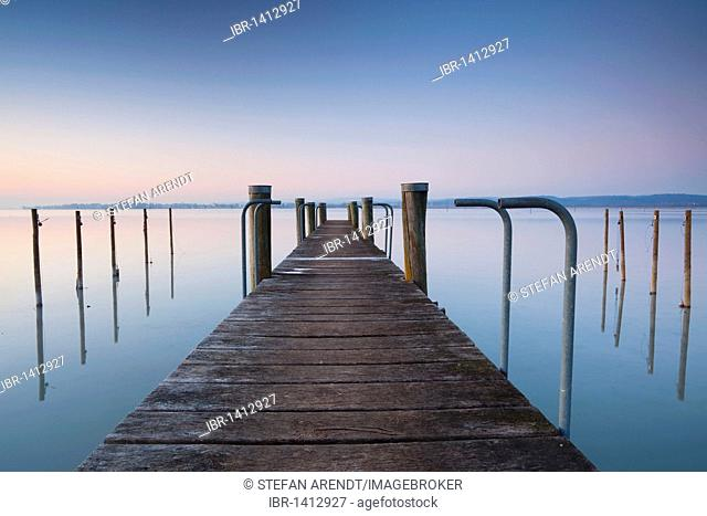 Pier in winter in Triboltingen on Lake Constance, Switzerland, Europe