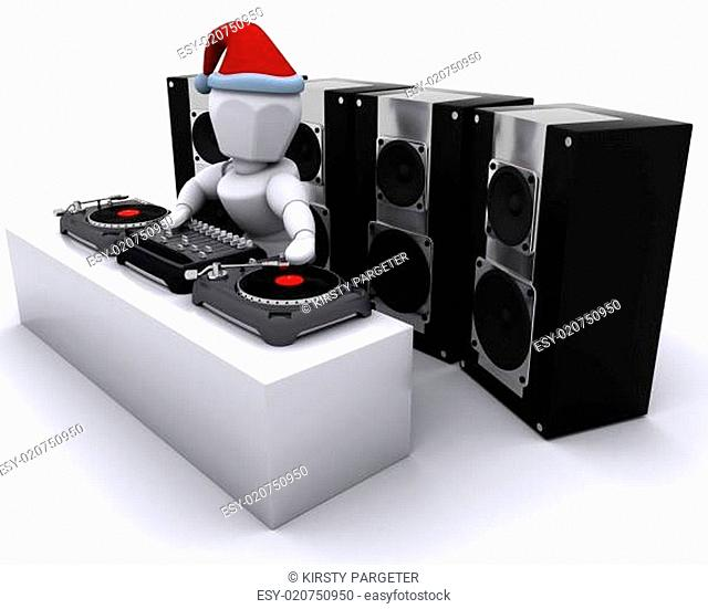 Christmas DJ mixing records on turntables