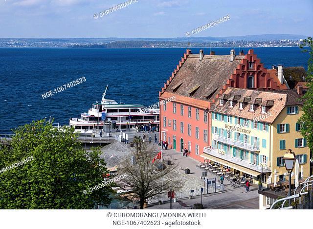 Landing stage and Gredhaus, Meersburg, Lake Constance, Baden-Wuerttemberg, Germany, Europe