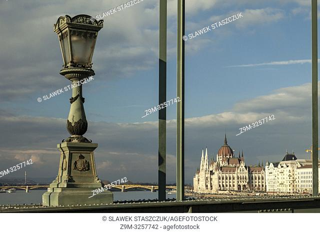 A view towards Hungarian Parliament from Chain Bridge in Budapest, Hungary
