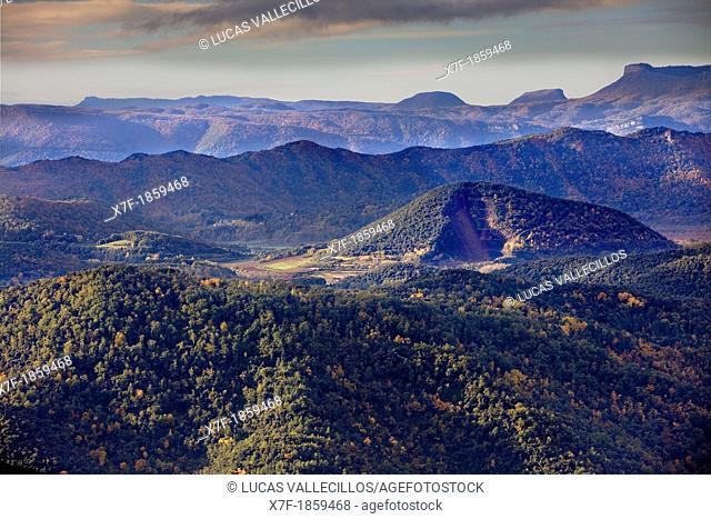On balloon over Garrotxa Natural Park,at right Croscat volcano,Girona province  Catalonia  Spain