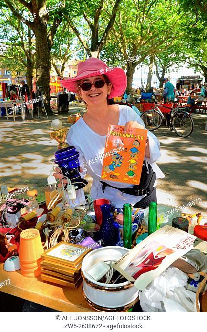 Woman in a flea market in Ystad, Sweden