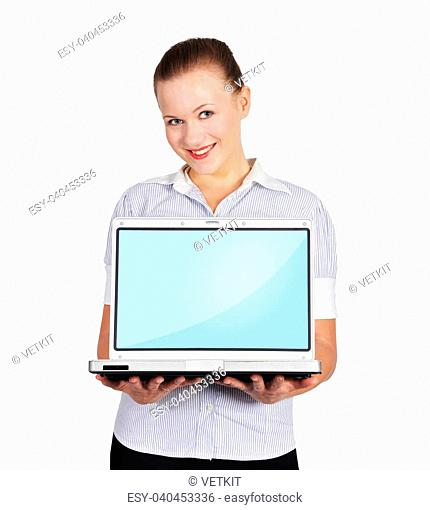 woman holding laptop on a white background