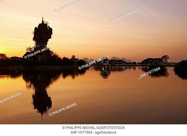 Myanmar (Burma), Karen state, Hpa An, Kyauk Kalap monastery
