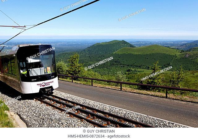 France, Puy de Dome, Parc Naturel Regional des Volcans d'Auvergne (Natural Regional Park of Volcans d'Auvergne), scenic train Domes