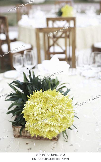 High angle view of a bouquet of flowers on the dining table
