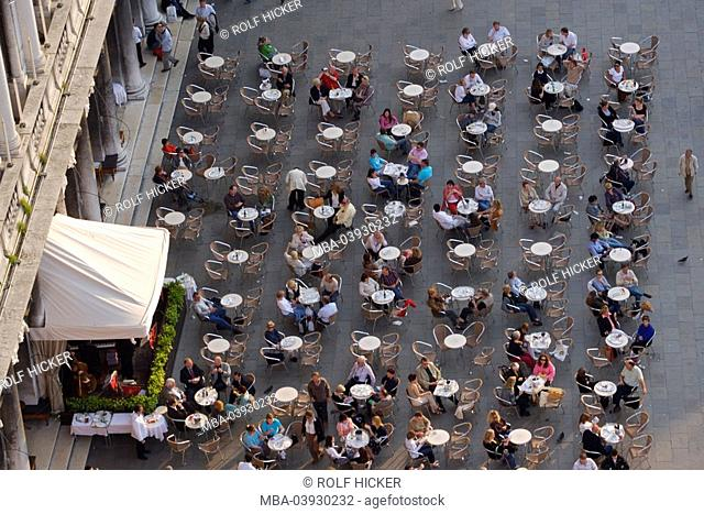 Italy, Venice, piazza San Marco, cafe Florian, top view, city, destination, St Mark's Square, place, pub, gastronomy, tables, chairs, cafe, people, vacationers