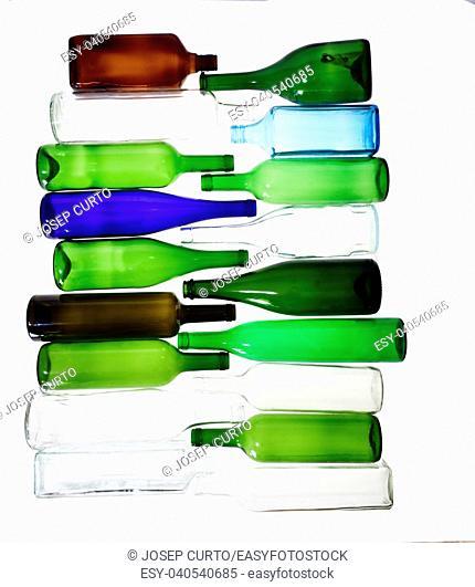bottles lying on a white background