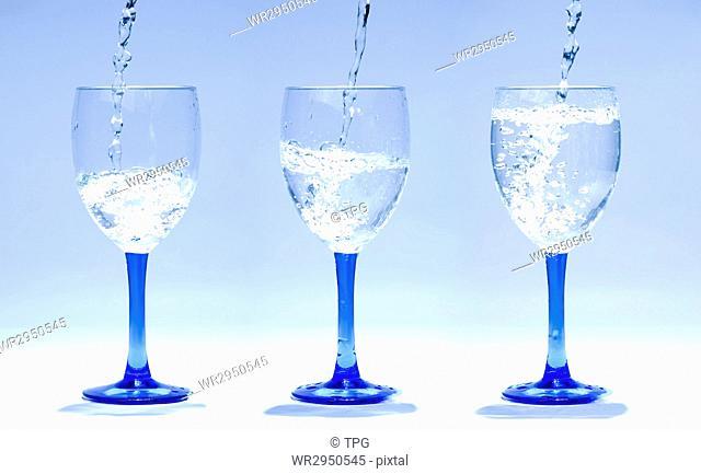 three glasses gradually full of water in order