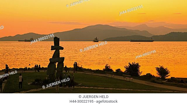 The Inushuk monument in sunset park at English bay , Olympic Symbol Westend, Vancouver City , Canada, North America