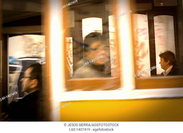 People in tram, Lisboa, Portugal