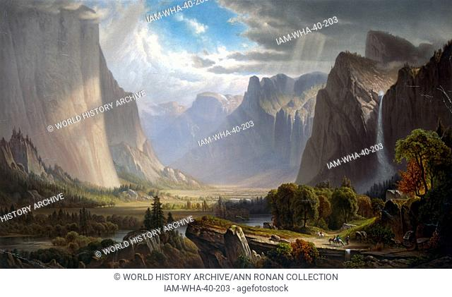 Yosemite valley. After painting by Thomas Hill (September 11, 1829 – June 30, 1908) American artist. He produced many fine paintings of the California landscape
