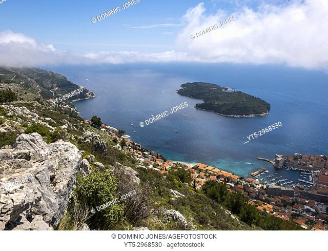 The wooded island and nature reserve of Lokrum viewed from Mount Srd, Dubrovnik, Croatia, Europe