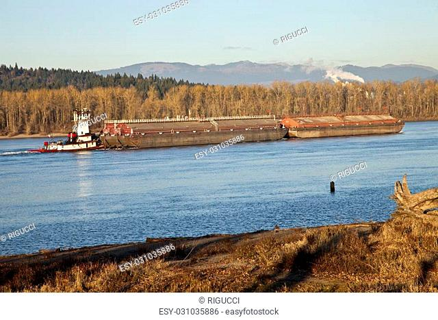 Push boat and barges nautical transportation Columbia river Oregon
